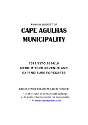 WC033 Cape Agulhas Adopted budget 2012-13