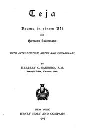 Teja; Drama in einem Akt von Hermann Sudermann
