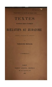 Textes d-auteurs grecs et romains relatifs au judaïsme