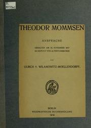 Theodor Mommsen. Ansprach gehalten am 30. November 1917 im Institut für Altertumskunde