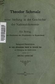 Theodor Schmalz und seine Stellung in der Geschichte der Nationalökonomie