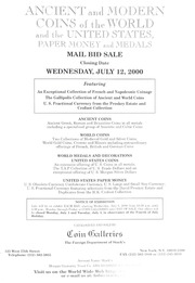 The Summer Mail Bid Sale: Ancient and Modern Coins of the World and the United States, Paper Money and Medals