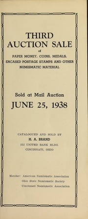 Third auction sale of paper money, coins, medals ... [06/25/1938]