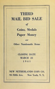 Third mail bid sale of coins, medals, paper money and numismatic items. [03/25/1941]