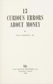 13 Curious Errors About Money