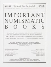 Important Numismatic Books: Thirteenth Annual Joint Auction with Spink & Son Ltd.