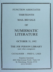 Thirteenth Mail Bid Sale of Numismatic Literature
