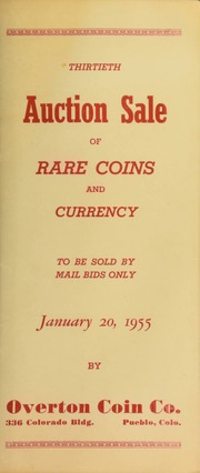 Thirtieth auction sale of rare coins and currency, to be sold by mail bids only ... [01/20/1955]