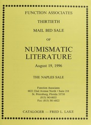 Thirtieth Mail Bid Sale of Numismatic Literature