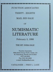 Thirty-Eighth Mail Bid Sale of Numismatic Literature