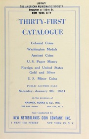 Thirty-first catalogue : colonial coins, Washington medals, ancient coins ... [01/20/1951]