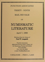 Thirty-Ninth Mail Bid Sale of Numismatic Literature