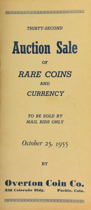 Thirty-second auction sale of rare coins and currency, to be sold by mail bids only ... [10/25/1955]