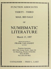 Thirty-Third Mail Bid Sale of Numismatic Literature