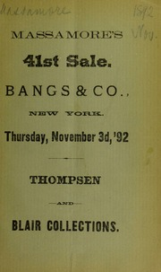 Thompson collection, and part of collection formed by the late Dr. A. R. Blair ... Part 3. [11/03/1892]