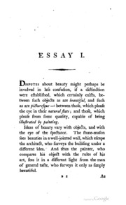 gilpin essay on picturesque beauty Picturesque is an aesthetic ideal introduced into english cultural debate in 1782 by william gilpin in observations on the river wye, and several parts of south wales.