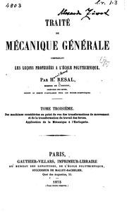 Vol 3: Traité de mécanique générale: comprenant les leçons professées à l-Ècole ...