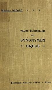 Traité élémentaire des synonymes grecs