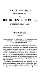 Vol 1: Traité pratique de la détermination des drogues simples d-origine végétale