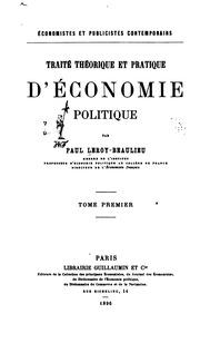 Vol 1: Traité théorique et pratique d-économie politique