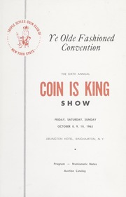 Triple Cities Coin Club of New York State, Coin is King Show Auction Catalog, October 8-10, 1965