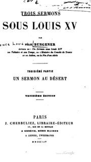 Trois sermons sous Louis XV