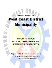 DC1 West Coast District Municipality Budget 2014 17