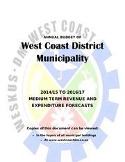 DC1 West Coast District Municipality Budget 2014 17