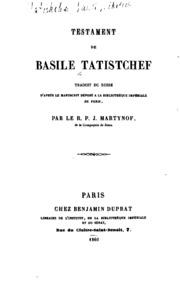Téstament de Basile Tatistchef