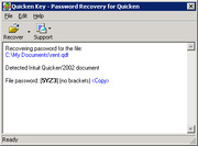 Quicken Key : http://www lostpassword com/quicken htm : Free