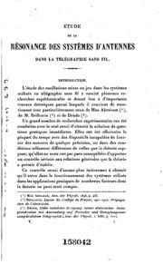 Étude de la résonance des systémes d-antennes dans la télégraphie sans fil