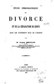 Étude démographique du divorce et de la séparation de corps dans les ...