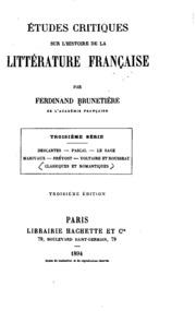 Vol 3: Études critiques sur l-histoire de la littérature française
