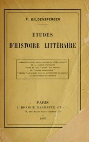 Études d-histoire littéraire