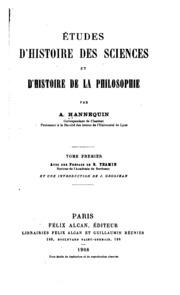 Études d-histoire des sciences et d-histoire de la philosophie