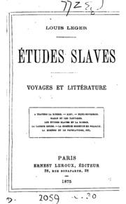 Études slaves; voyages et littérature