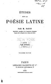 Vol 1: Études sur la poésie latine
