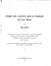 Études sur l-article dans le français du XVIe siècle