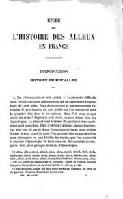 Édtude sur l-histoire des alleux en France avec une carte des pays allodiaux
