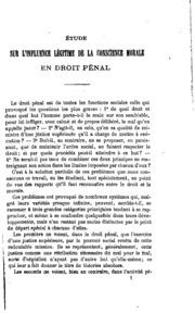 Étude sur l-influence légitime de la conscience morale en droit pénal