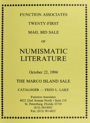 Twenty-First Mail Bid Sale of Numismatic Literature