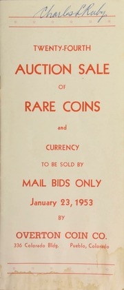 Twenty-fourth auction sale of rare coins and currency, to be sold by mail bids only ... [01/23/1953]