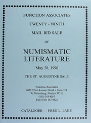 Twenty-Ninth Mail Bid Sale of Numismatic Literature