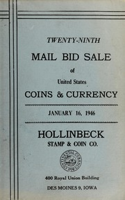 Twenty-Ninth Mail Bid Sale of United States Coins & Currency