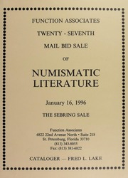 Twenty-Seventh Mail Bid Sale of Numismatic Literature