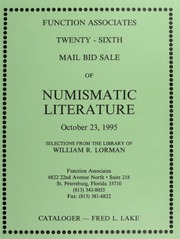 Twenty-Sixth Mail Bid Sale of Numismatic Literature