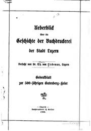 Ueberblick über die geschichte der buchdruckerei der stadt Luzern
