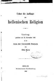 Ueber die Anfänge der hellenishcen Religion