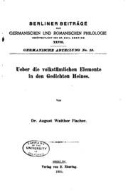 Vol nos. 15-16: Ueber die volkstümlichen Elemente in den Gedichten Heines