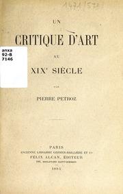 Un critique d'art au XIXe siècle